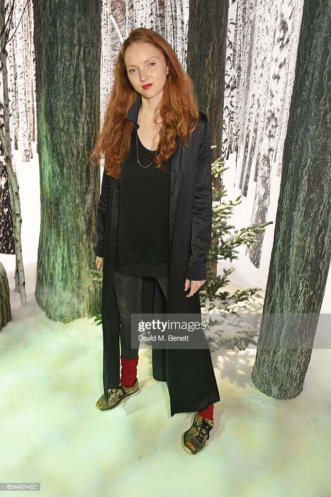 Lily Cole attends Claridge's Christmas Tree 2016 Party, with tree designed by Sir Jony Ive and Marc Newson, at Claridge's Hotel on November 19, 2016 in London, England.