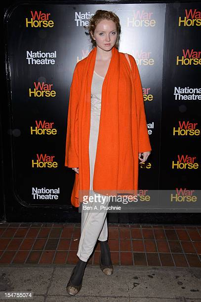 Lily Cole attends the 5th anniversary performance of 'War Horse' at The New London Theatre Drury Lane on October 25 2012 in London England