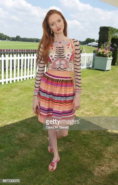 Lily Cole attends the Cartier Queen's Cup Polo final at Guards Polo Club on June 18 2017 in Egham England