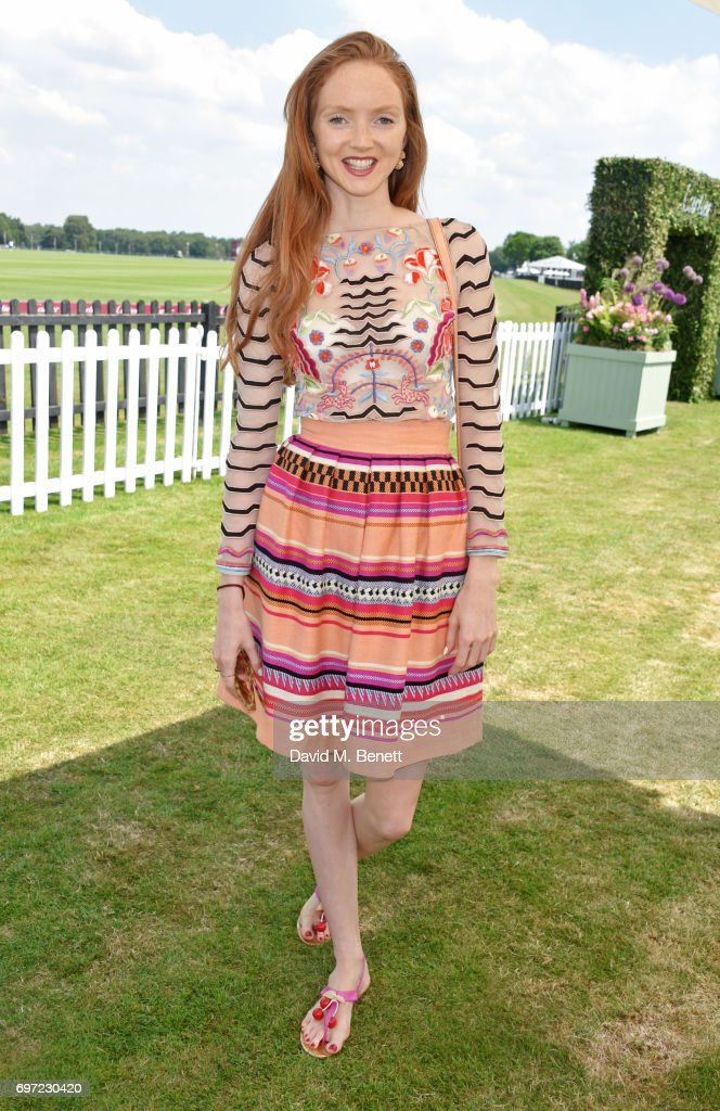 Lily Cole attends the Cartier Queen's Cup Polo final at Guards Polo Club on June 18, 2017 in Egham, England.