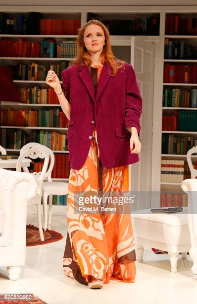 Lily Cole bows at the curtain call during the press night performance of 'The Philanthropist' at the Trafalgar Studios on April 20 2017 in London...
