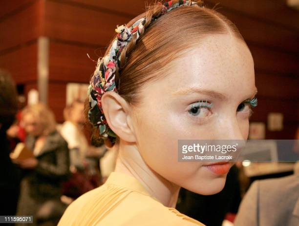 Lily Cole during Paris Fashion Week Ready to Wear Spring / Summer 2005 Cacharel Backstage at Carrousel du Louvre in Paris France