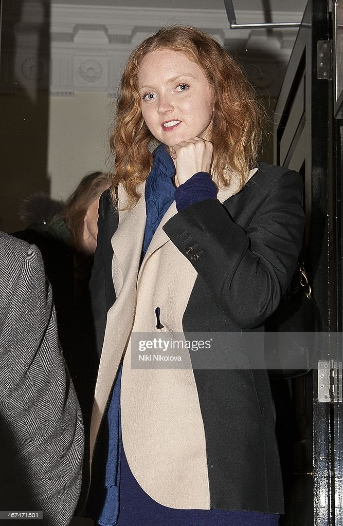 Lily Cole is seen leaving the Voena Gallery, Mayfair on February 6, 2014 in London, England.
