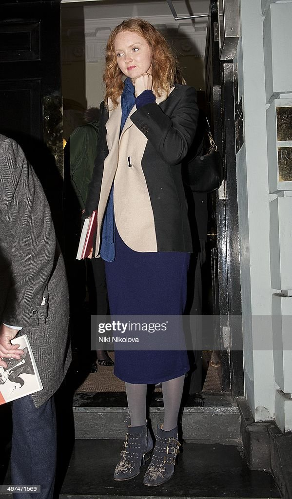 <a gi-track='captionPersonalityLinkClicked' href=/galleries/search?phrase=Lily+Cole&family=editorial&specificpeople=206320 ng-click='$event.stopPropagation()'>Lily Cole</a> is seen leaving the Voena Gallery, Mayfair on February 6, 2014 in London, England.