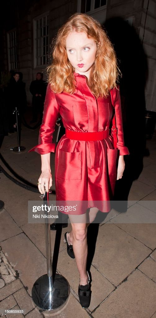 Lily Cole is sighted leaving lulu Restaurant, Mayfair on September 16, 2013 in London, England.