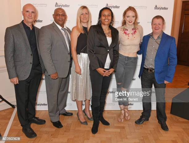 Lily Cole poses with shortlisted authors Tony Riches Orlando A Sanchez Joanna Mazurkiewicz Jade Winters and David Leadbeater winner of the Kindle...