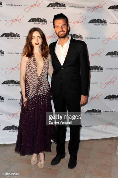 Lily Collins and Andrea Iervolino attend 2017 Ischia Global Film Music Fest on July 15 2017 in Ischia Italy