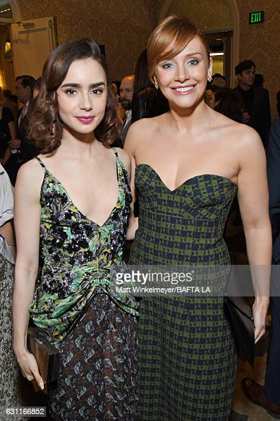 Lily Collins and Bryce Dallas Howard attend The BAFTA Tea Party at Four Seasons Hotel Los Angeles at Beverly Hills on January 7 2017 in Los Angeles...