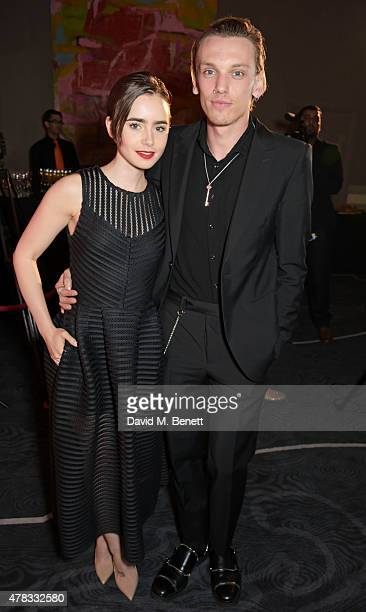 Lily Collins and cast member Jamie Campbell Bower attend the after party following the press night performance of 'Bend It Like Beckham The Musical'...