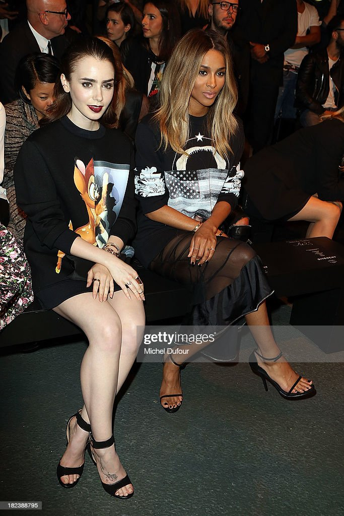 <a gi-track='captionPersonalityLinkClicked' href=/galleries/search?phrase=Lily+Collins&family=editorial&specificpeople=3520243 ng-click='$event.stopPropagation()'>Lily Collins</a> and Ciara Princess Harris attend the Givenchy show as part of the Paris Fashion Week Womenswear Spring/Summer 2014 on September 29, 2013 in Paris, France.