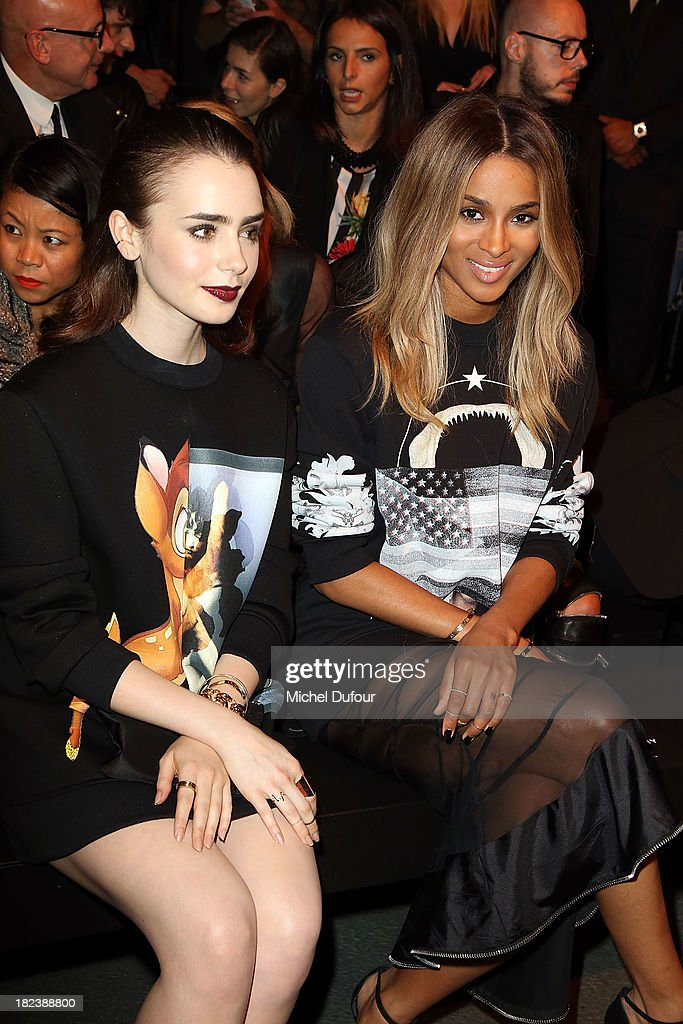 Lily Collins and Ciara Princess Harris attend the Givenchy show as part of the Paris Fashion Week Womenswear Spring/Summer 2014 on September 29, 2013 in Paris, France.