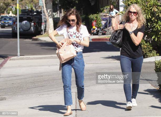 Lily Collins and her mother Jill Tavelman are seen on August 22 2017 in Los Angeles California