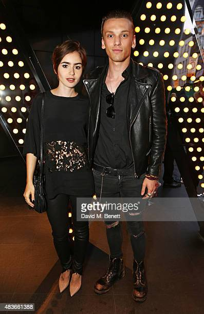 Lily Collins and Jamie Campbell Bower attend the launch of W London Leicester Square's Britpop Vinyl Collection curated by DJ Lauren Laverne at W...