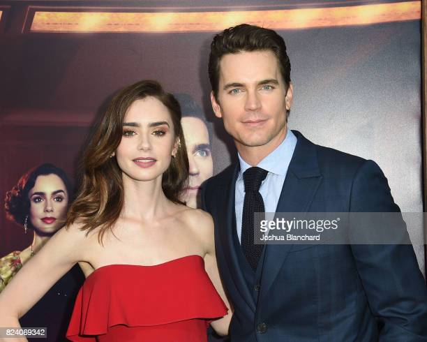 Lily Collins and Matt Bomer arrive at the Premiere Of Amazon Studios' 'The Last Tycoon' at the Harmony Gold Preview House and Theater on July 27 2017...