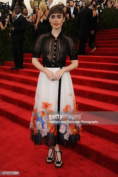 Lily Collins arrives at 'China Through The Looking Glass' Costume Institute Benefit Gala at the Metropolitan Museum of Art on May 4 2015 in New York...