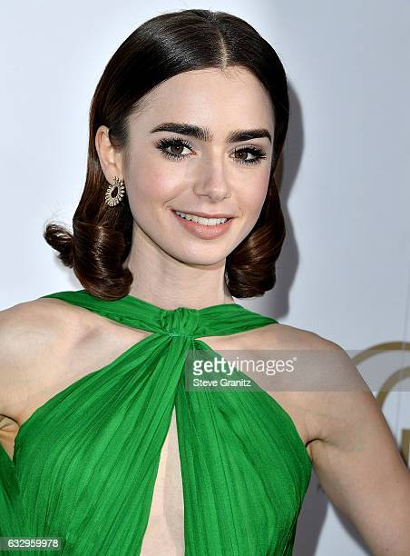 Lily Collins arrives at the 28th Annual Producers Guild Awards at The Beverly Hilton Hotel on January 28 2017 in Beverly Hills California