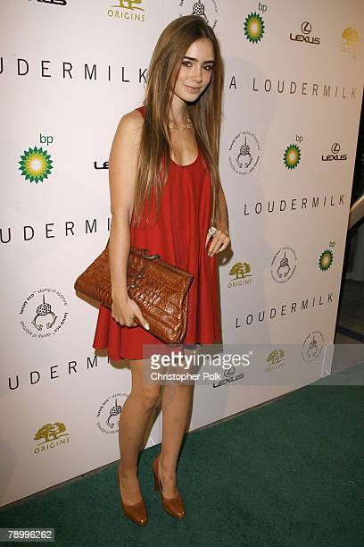 Lily Collins arrives at the Linda Loudermilk Fashion Show Presents Luxury Eco Spring 2008 Collection at the BP Helios House on October 17 2007 in Los...