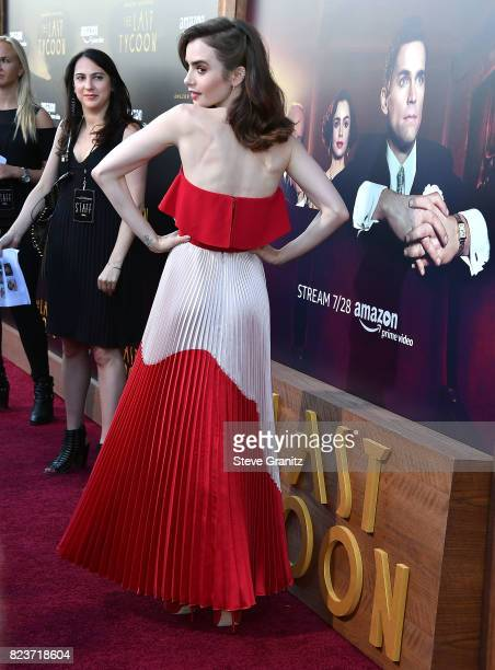 Lily Collins arrives at the Premiere Of Amazon Studios' 'The Last Tycoon' at the Harmony Gold Preview House and Theater on July 27 2017 in Hollywood...