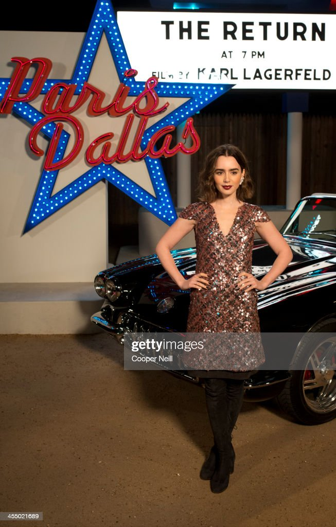 Lily Collins arrives for the Chanel 'Metiers d'Art' Show at Fair Park on December 10, 2013 in Dallas, Texas.