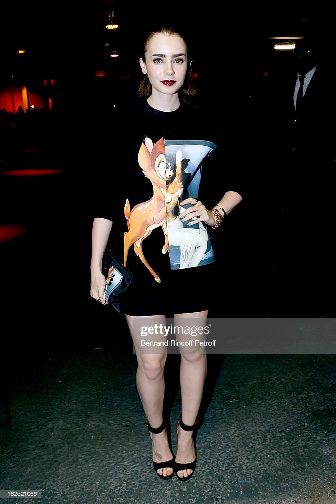 <a gi-track='captionPersonalityLinkClicked' href=/galleries/search?phrase=Lily+Collins&family=editorial&specificpeople=3520243 ng-click='$event.stopPropagation()'>Lily Collins</a> arriving at Givenchy show as part of the Paris Fashion Week Womenswear Spring/Summer 2014, held at 'la Halle Freyssinet' on September 29, 2013 in Paris, France.