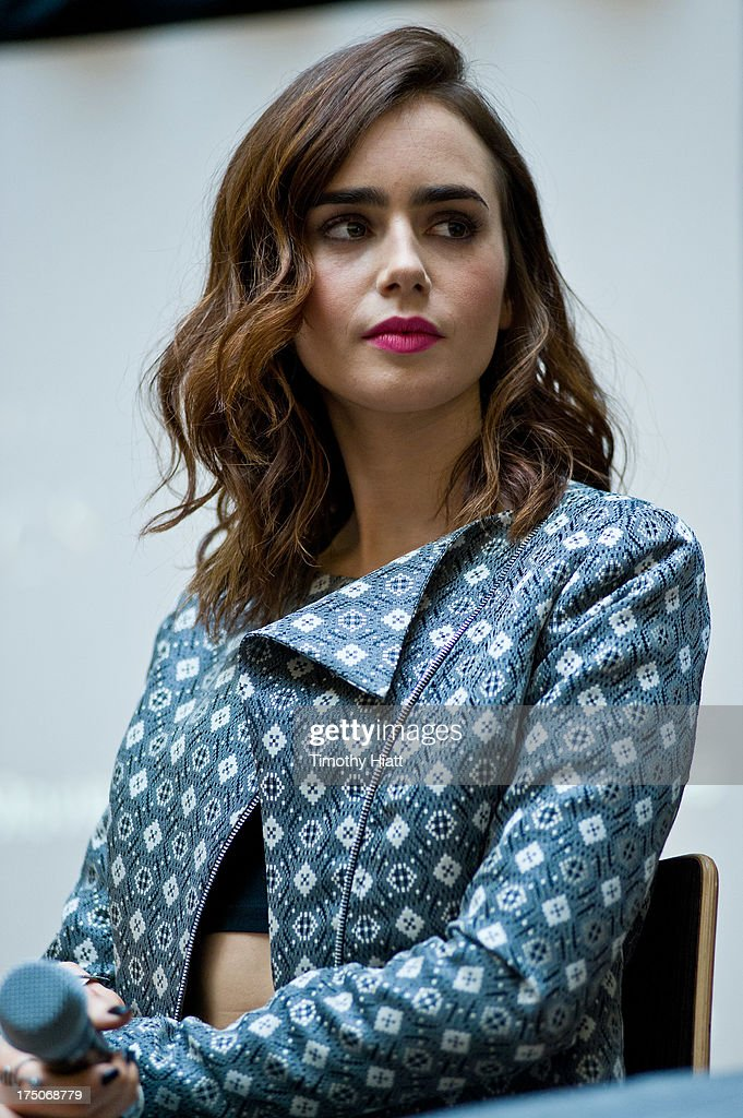 Lily Collins attends a Q&A and autograph session for fans in anticipation of Screen Gems' action-fantasy