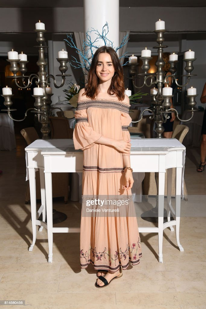 Lily Collins attends AMBI Media Group Dinner in honor for Lily Collins during the 2017 Ischia Global Film & Music Fest at Hotel Mezza Torre on July 14, 2017 in Ischia, Italy.