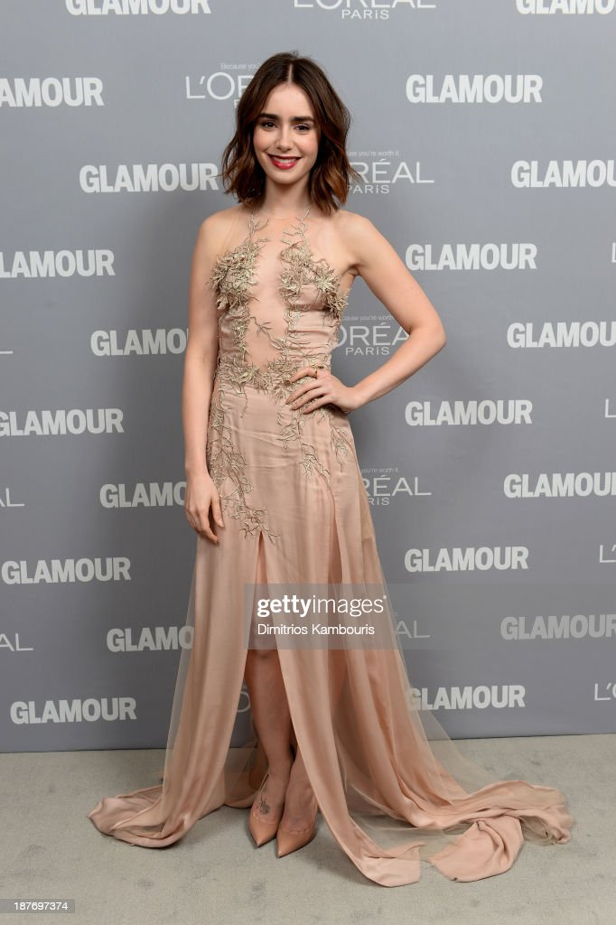 <a gi-track='captionPersonalityLinkClicked' href=/galleries/search?phrase=Lily+Collins&family=editorial&specificpeople=3520243 ng-click='$event.stopPropagation()'>Lily Collins</a> attends Glamour's 23rd annual Women of the Year awards on November 11, 2013 in New York City.
