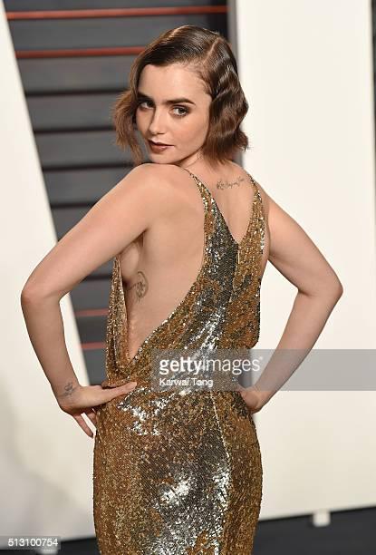 Lily Collins attends the 2016 Vanity Fair Oscar Party Hosted By Graydon Carter at Wallis Annenberg Center for the Performing Arts on February 28 2016...