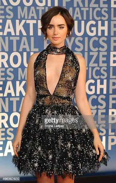 Lily Collins attends the annual Breakthrough Prize ceremony at NASA Ames Research Center on November 8 2015 in Mountain View California