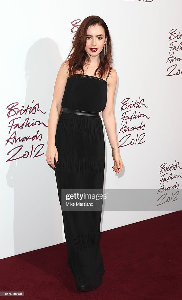 Lily Collins attends the British Fashion Awards 2012 at The Savoy Hotel on November 27, 2012 in London, England.