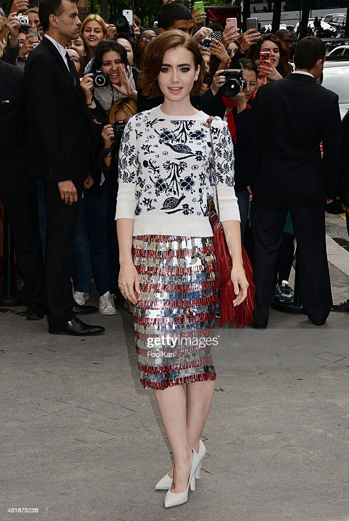 Lily Collins attends the Chanel Show as part of Paris Fashion Week Haute Couture Fall/Winter 20142015 at on July 8 2014 in Paris France