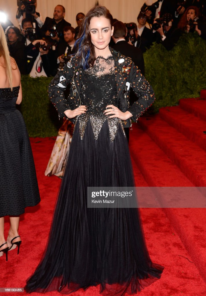 Lily Collins attends the Costume Institute Gala for the 'PUNK: Chaos to Couture' exhibition at the Metropolitan Museum of Art on May 6, 2013 in New York City.
