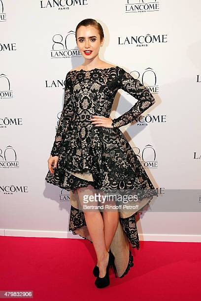 Lily Collins attends the Lancome 80th anniversary party as part of Paris Fashion Week Haute Couture Fall/Winter 2015/2016 on July 7 2015 in Paris...