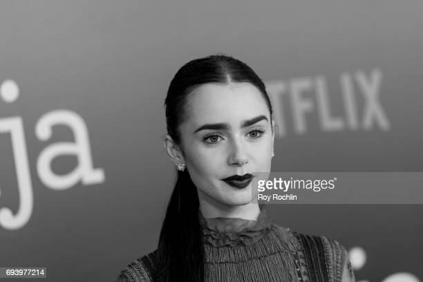 Lily Collins attends the New York premiere of 'Okja' at AMC Lincoln Square Theater on June 8 2017 in New York City