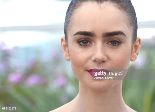 Lily Collins attends the 'Okja' Photocall during the 70th annual Cannes Film Festival at Palais des Festivals on May 19 2017 in Cannes France
