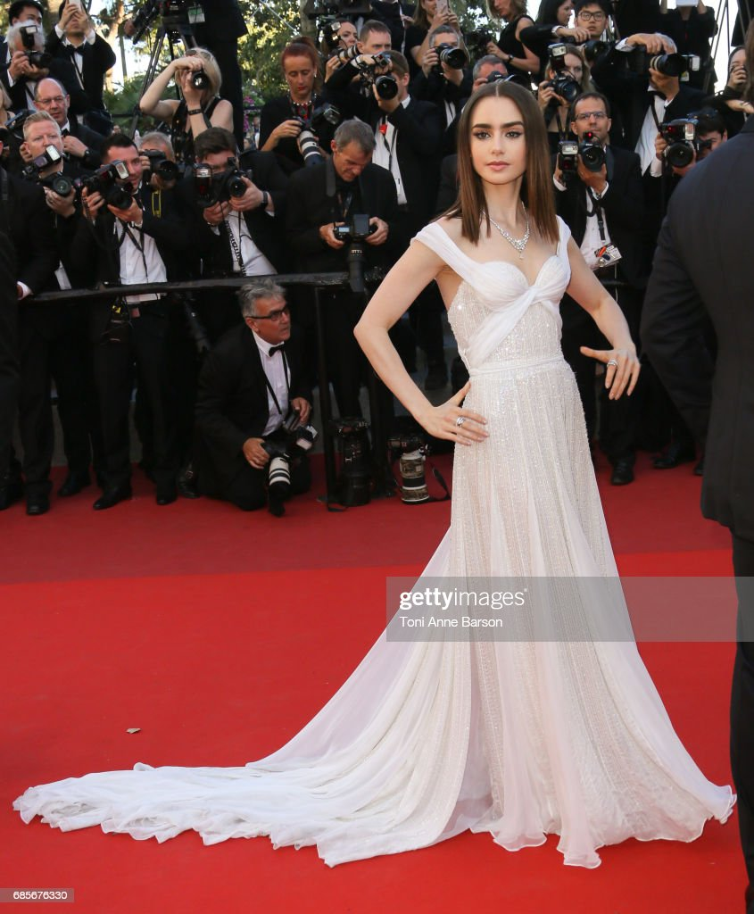 Lily Collins attends the 'Okja' screening during the 70th annual Cannes Film Festival at Palais des Festivals on May 19, 2017 in Cannes, France.