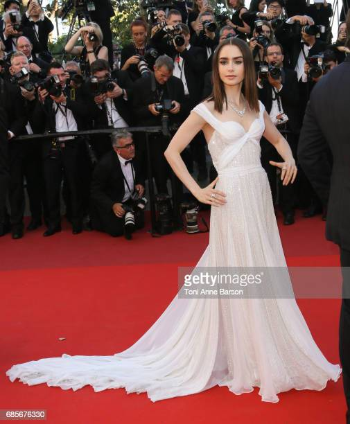 Lily Collins attends the 'Okja' screening during the 70th annual Cannes Film Festival at Palais des Festivals on May 19 2017 in Cannes France