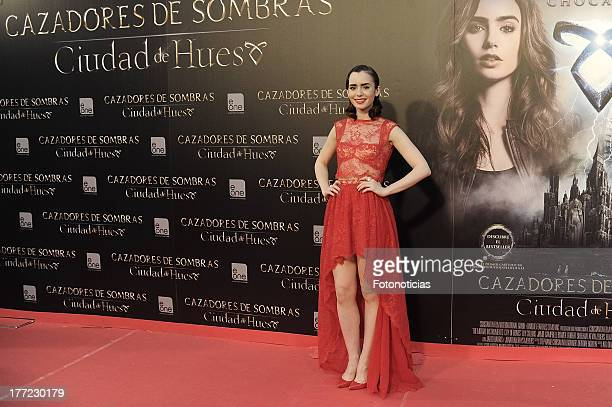 Lily Collins attends the premiere of 'The Mortal Instruments City Of Bones' at Callao Cinema on August 22 2013 in Madrid Spain