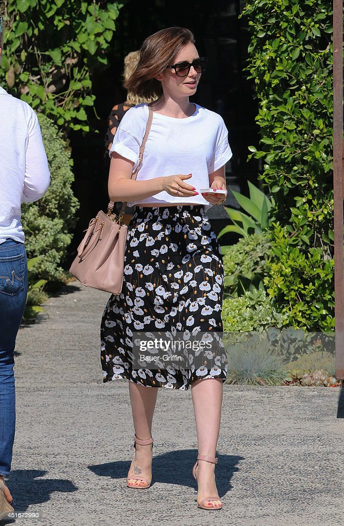 Lily Collins is seen in Hollywood on July 03, 2014 in Los Angeles, California.