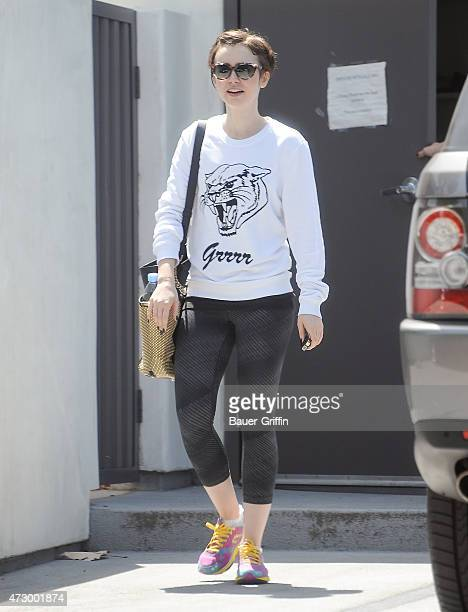 Lily Collins is seen in Los Angeles on May 11 2015 in Los Angeles California