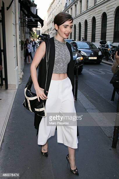 Lily Collins is seen leaving the 'CHANEL' Cambon store on July 9 2015 in Paris France