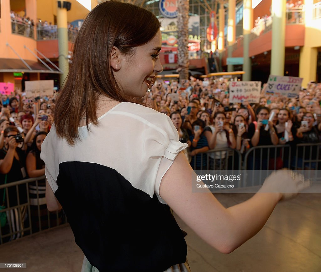 <a gi-track='captionPersonalityLinkClicked' href=/galleries/search?phrase=Lily+Collins&family=editorial&specificpeople=3520243 ng-click='$event.stopPropagation()'>Lily Collins</a> of 'The Mortal Instruments' at Dolphin Mall on July 31, 2013 in Miami, Florida.