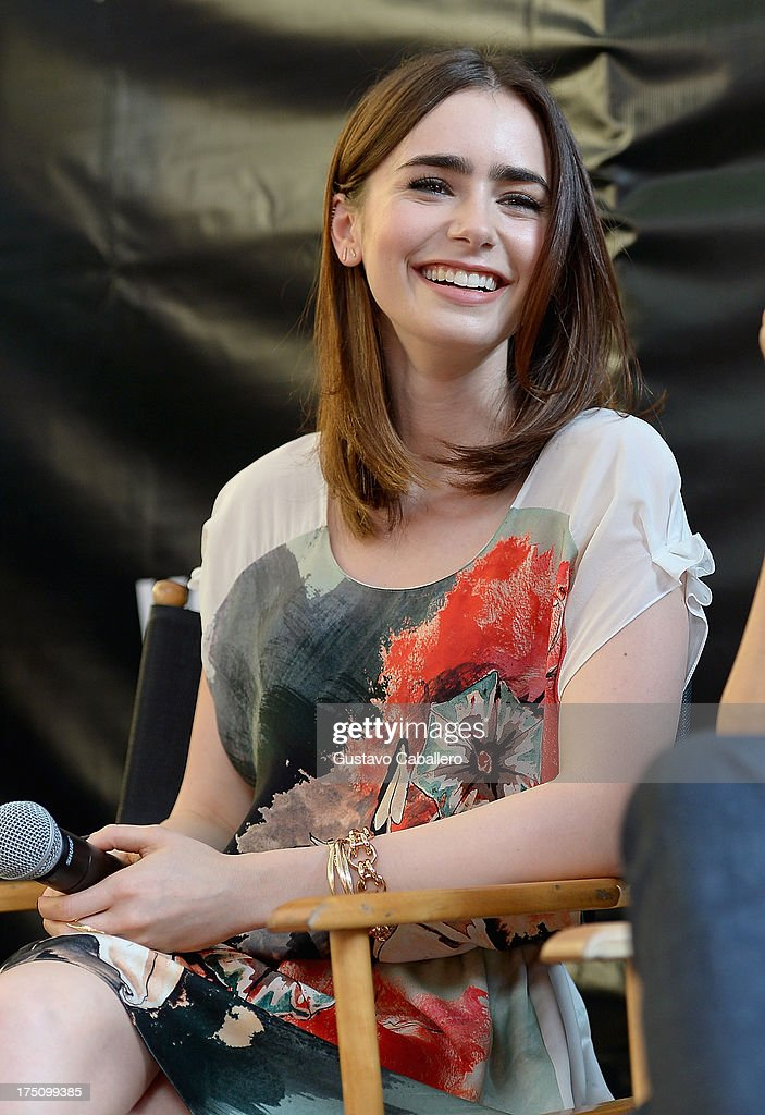 <a gi-track='captionPersonalityLinkClicked' href=/galleries/search?phrase=Lily+Collins&family=editorial&specificpeople=3520243 ng-click='$event.stopPropagation()'>Lily Collins</a> Of 'The Mortal Instruments' In Miami at Dolphin Mall on July 31, 2013 in Miami, Florida.