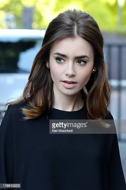 Lily Collins seen at the ITV Studios on August 19 2013 in London England