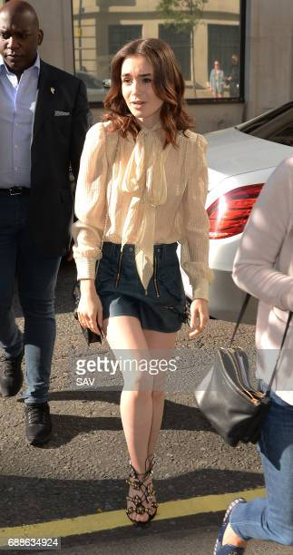 Lily Collins sighting at BBC Radio 2 on May 26 2017 in London England