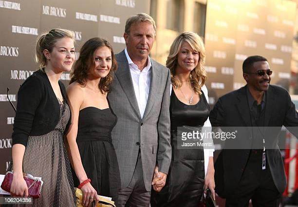 Lily Costner Annie Costner Kevin Costner and wife Christine Baumgartner
