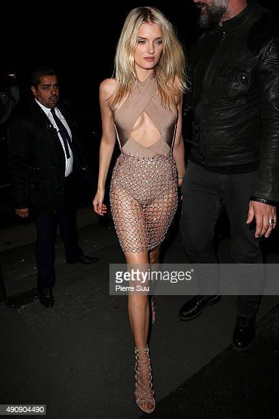 Lily Donaldson arrives at the Balmain After Show Party at 'Laperouse' restaurant as part of the Paris Fashion Week Womenswear Spring/Summer 2016 on...