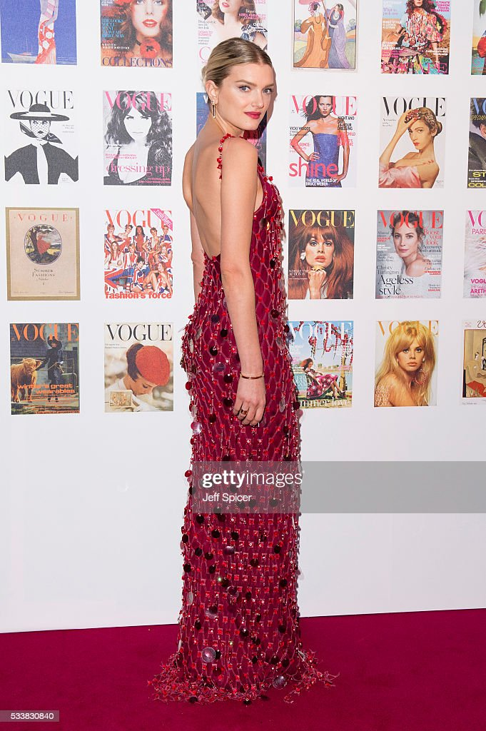 Lily Donaldson arrives for the Gala to celebrate the Vogue 100 Festival at Kensington Gardens on May 23, 2016 in London, England.