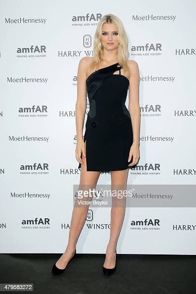 Lily Donaldson attends the amfAR dinner at the Pavillon LeDoyen during the Paris Fashion Week Haute Couture on July 5 2015 in Paris France