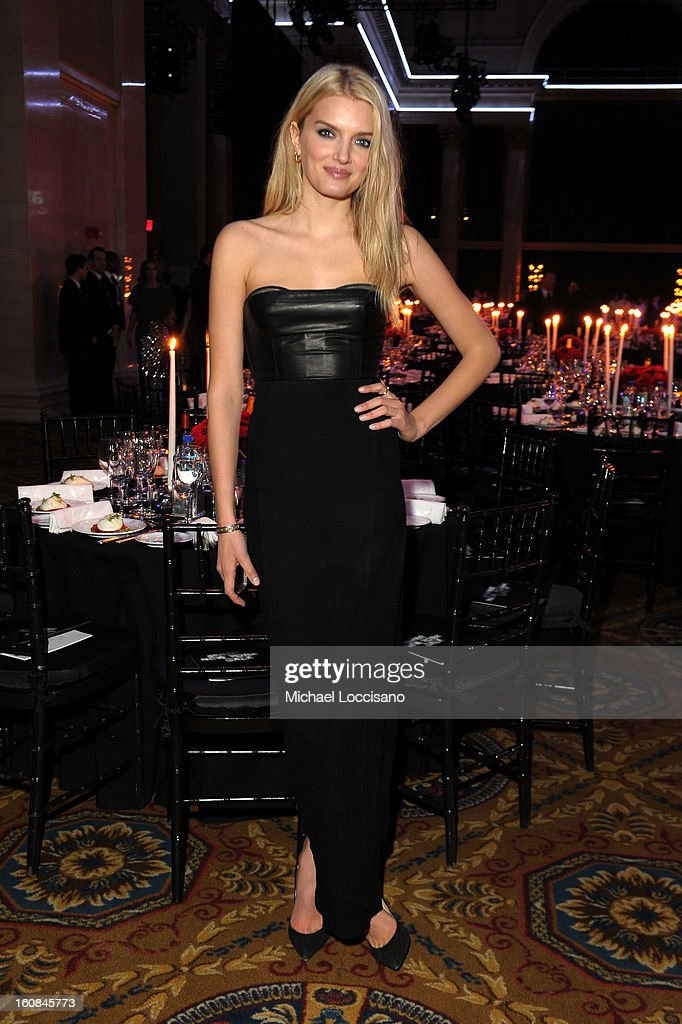 Lily Donaldson attends the amfAR New York Gala to kick off Fall 2013 Fashion Week at Cipriani Wall Street on February 6, 2013 in New York City.